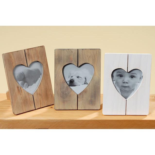 Rahmen Bilderrahmen aus Holz Herz braun 19cm
