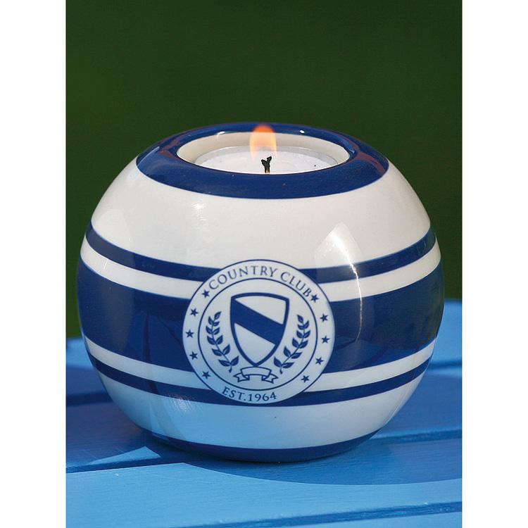Teelichthalter Keramik Kerzenhalter Country Club Blau Wei 223