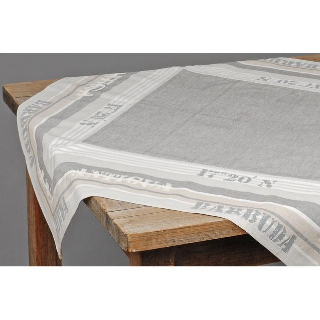 tischdecke aus stoff streifen grau natur 90x90cm 017629. Black Bedroom Furniture Sets. Home Design Ideas