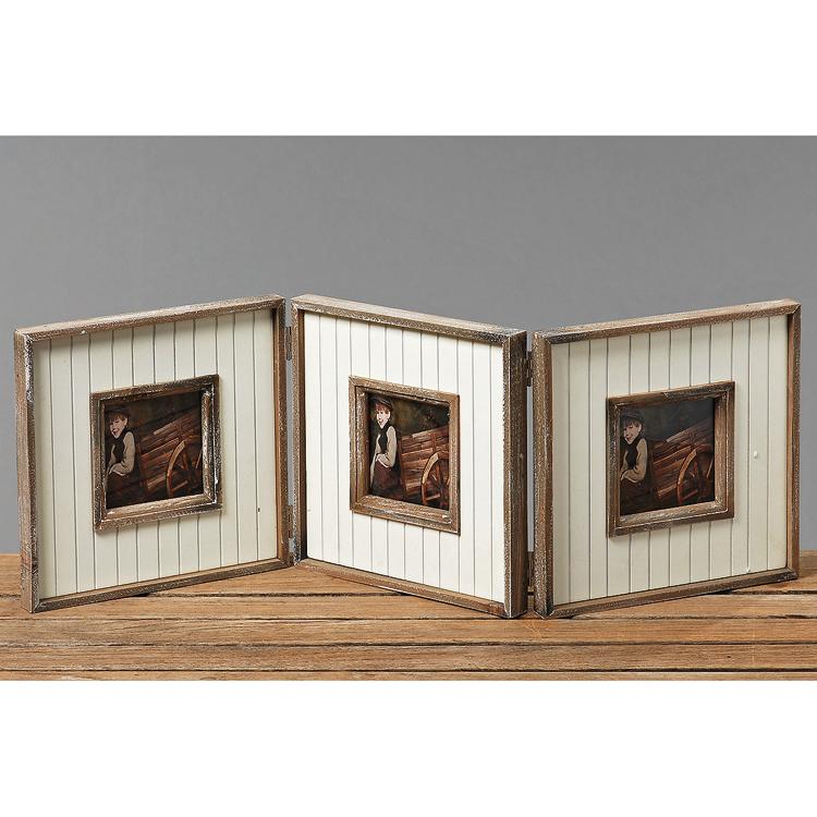 bilderrahmen 3 fach klappbar aus holz creme braun 018311. Black Bedroom Furniture Sets. Home Design Ideas