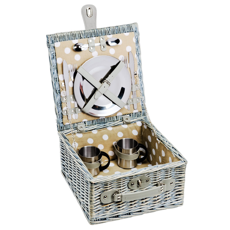 picknickkorb rattan 2 personen grau 019475 sunflower design. Black Bedroom Furniture Sets. Home Design Ideas