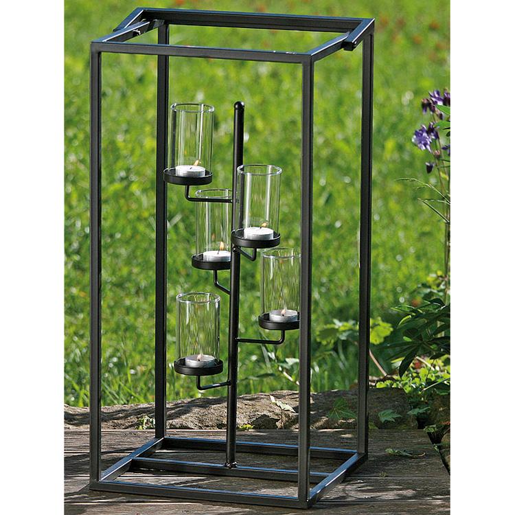 windlicht f r teelichte 60cm metall schwarz 019843. Black Bedroom Furniture Sets. Home Design Ideas