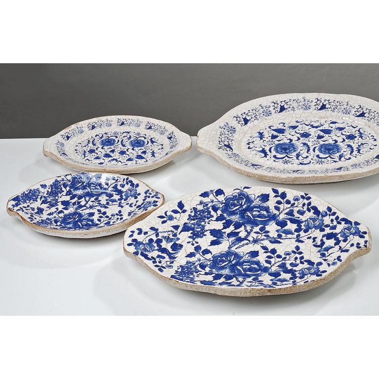 teller schale terrakotta wei blau rosen 45cm 020647. Black Bedroom Furniture Sets. Home Design Ideas