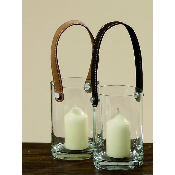 windlicht aus glas mit henkel aus leder 15cm braun ebay. Black Bedroom Furniture Sets. Home Design Ideas
