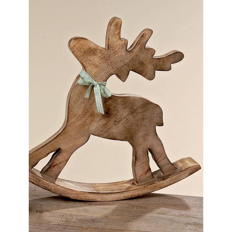 dekofigur schaukelpferd elch aus holz 42cm 027694. Black Bedroom Furniture Sets. Home Design Ideas