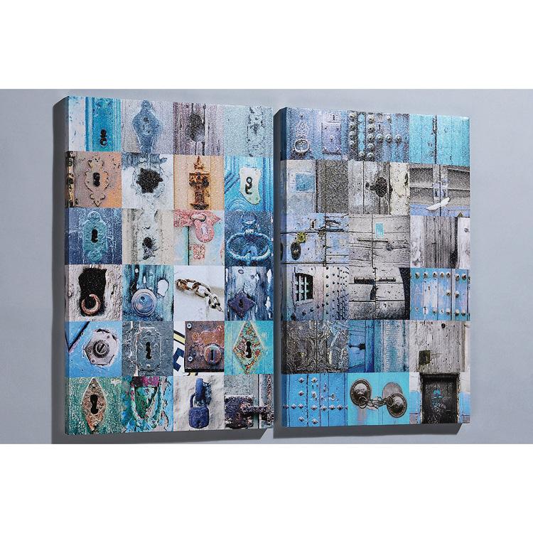 Wandbild Kunstdruck Schlösser Collage blau 40 x 60cm