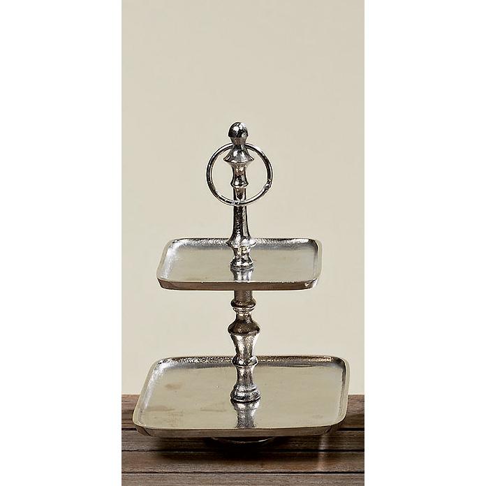 etagere aluminium silber 2er eckig 30cm 024397. Black Bedroom Furniture Sets. Home Design Ideas