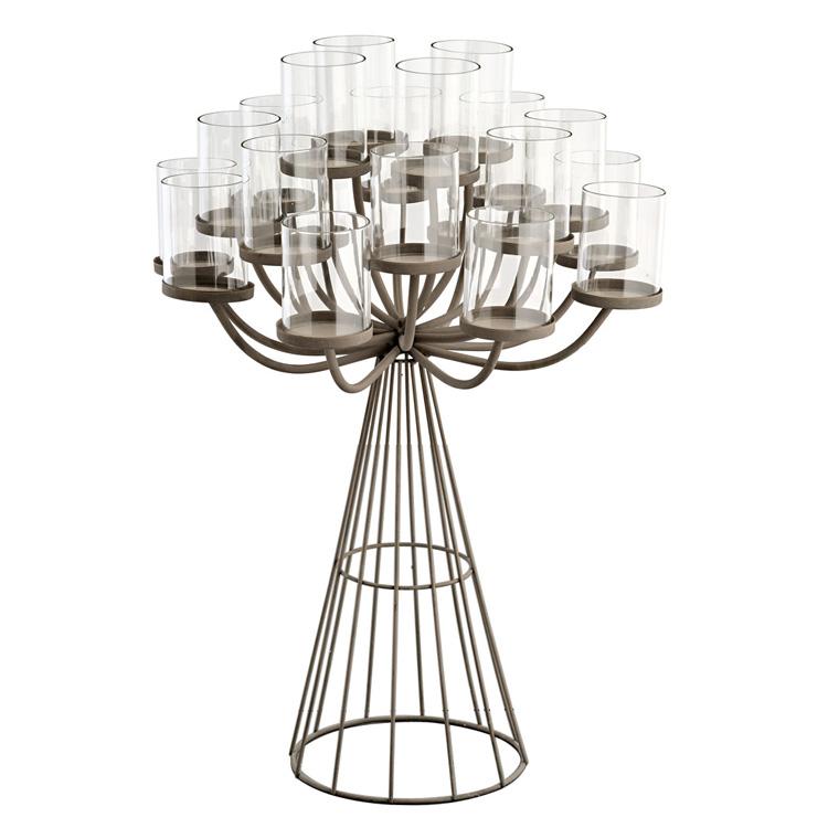 kerzenhalter aus metall mit windlichten 20 fach 70cm 024984. Black Bedroom Furniture Sets. Home Design Ideas