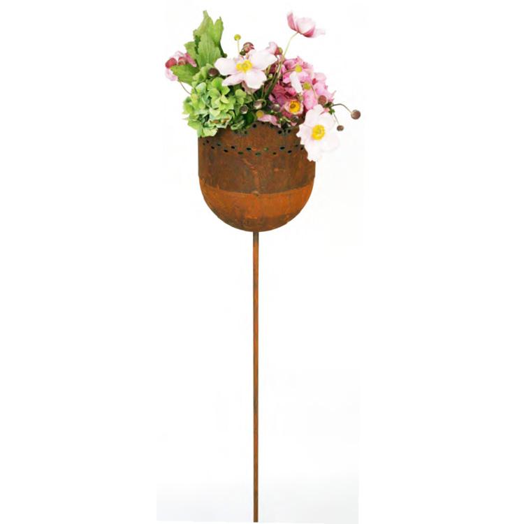 Gartenstab gartenstecker kelch aus metall rost 026082 for Rost gartenstecker