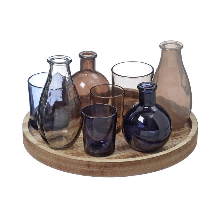 set mit vasen und windlichten auf holztablett rund 026322. Black Bedroom Furniture Sets. Home Design Ideas