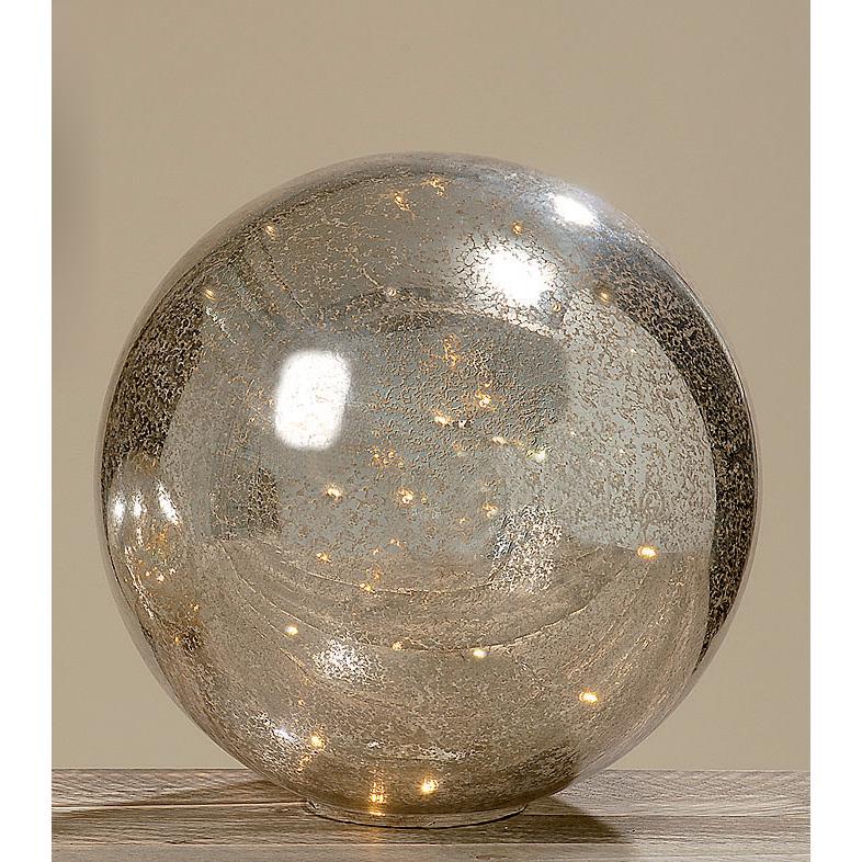 dekokugel aus glas mit lichterkette bauernsilber 40cm 027758. Black Bedroom Furniture Sets. Home Design Ideas
