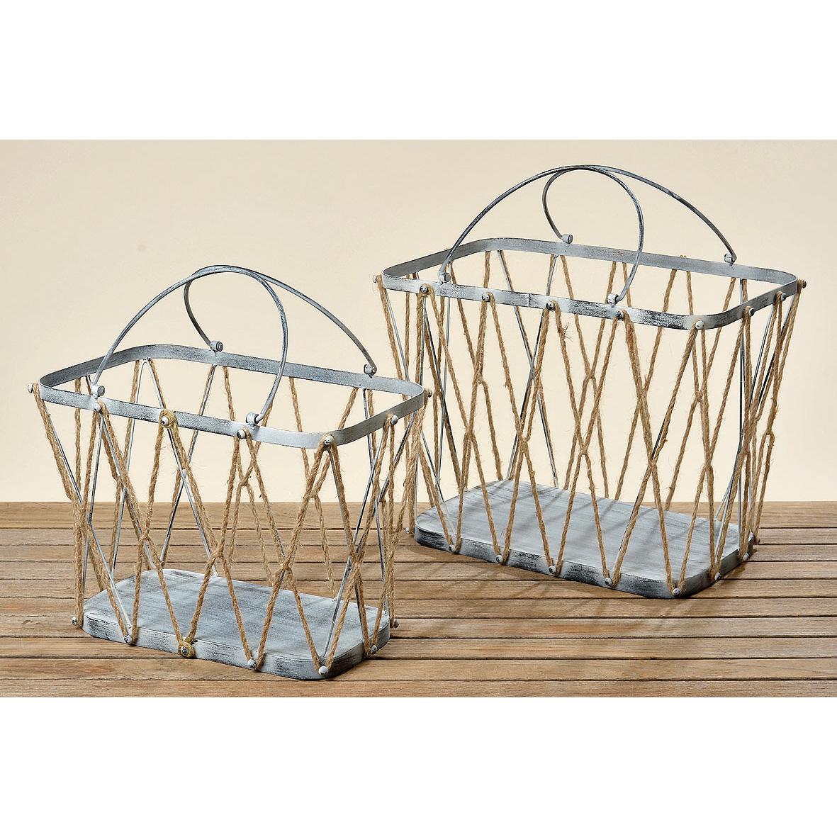 korb aus metall mit hanfseilen eckig 42cm 028869. Black Bedroom Furniture Sets. Home Design Ideas