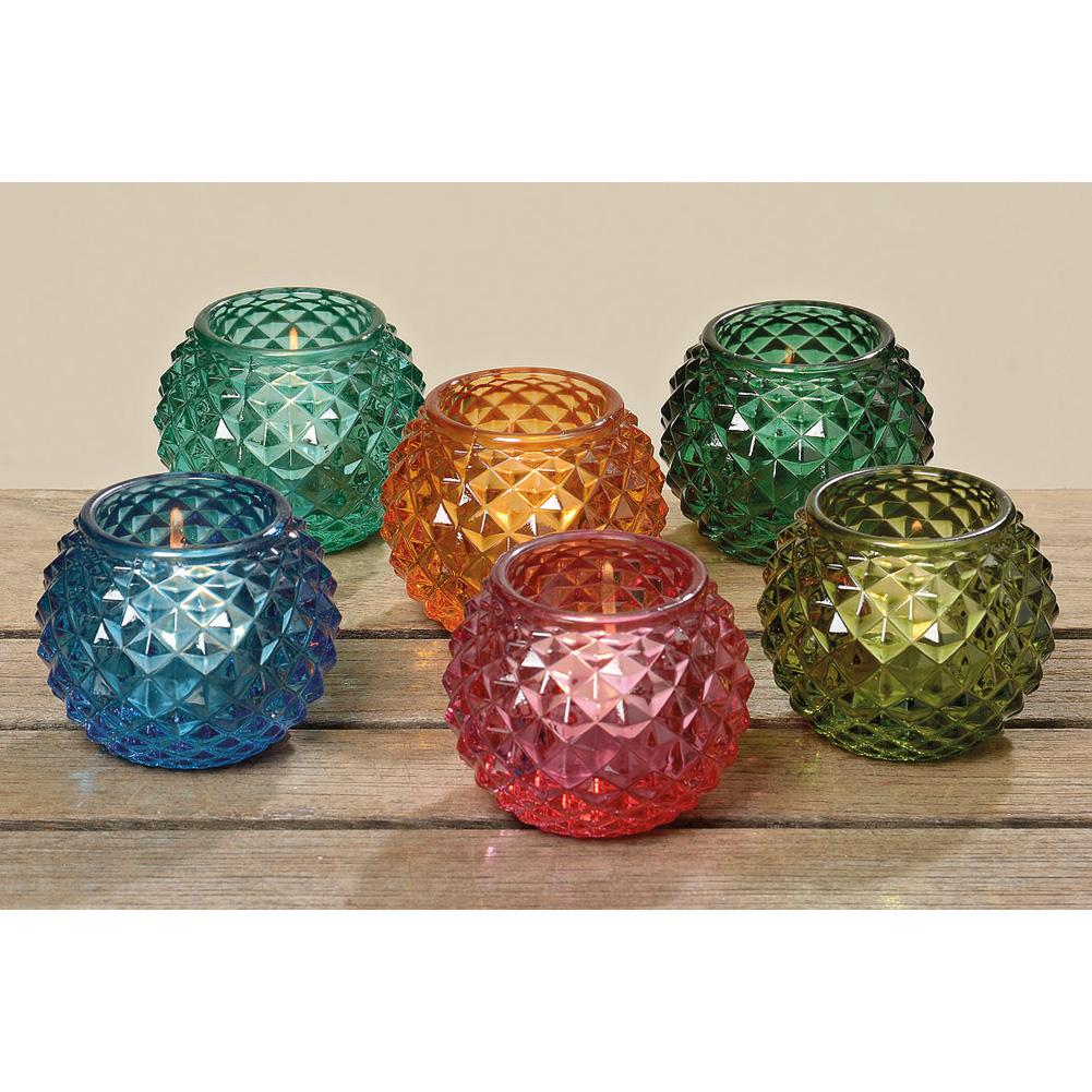 Teelichthalter set glas 6 tlg sommer bunt 029098 for Teelichthalter glas bunt