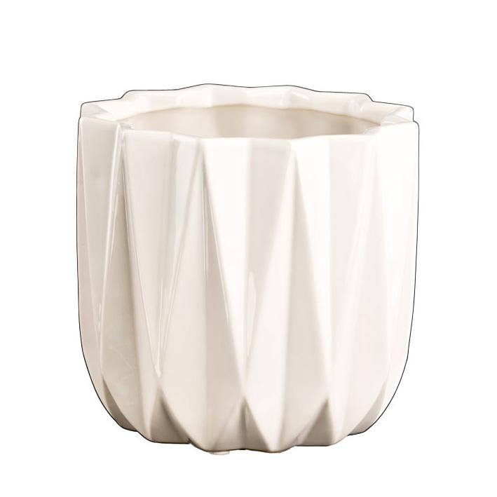 blumentopf pflanztopf keramik geriffelt wei 030287. Black Bedroom Furniture Sets. Home Design Ideas