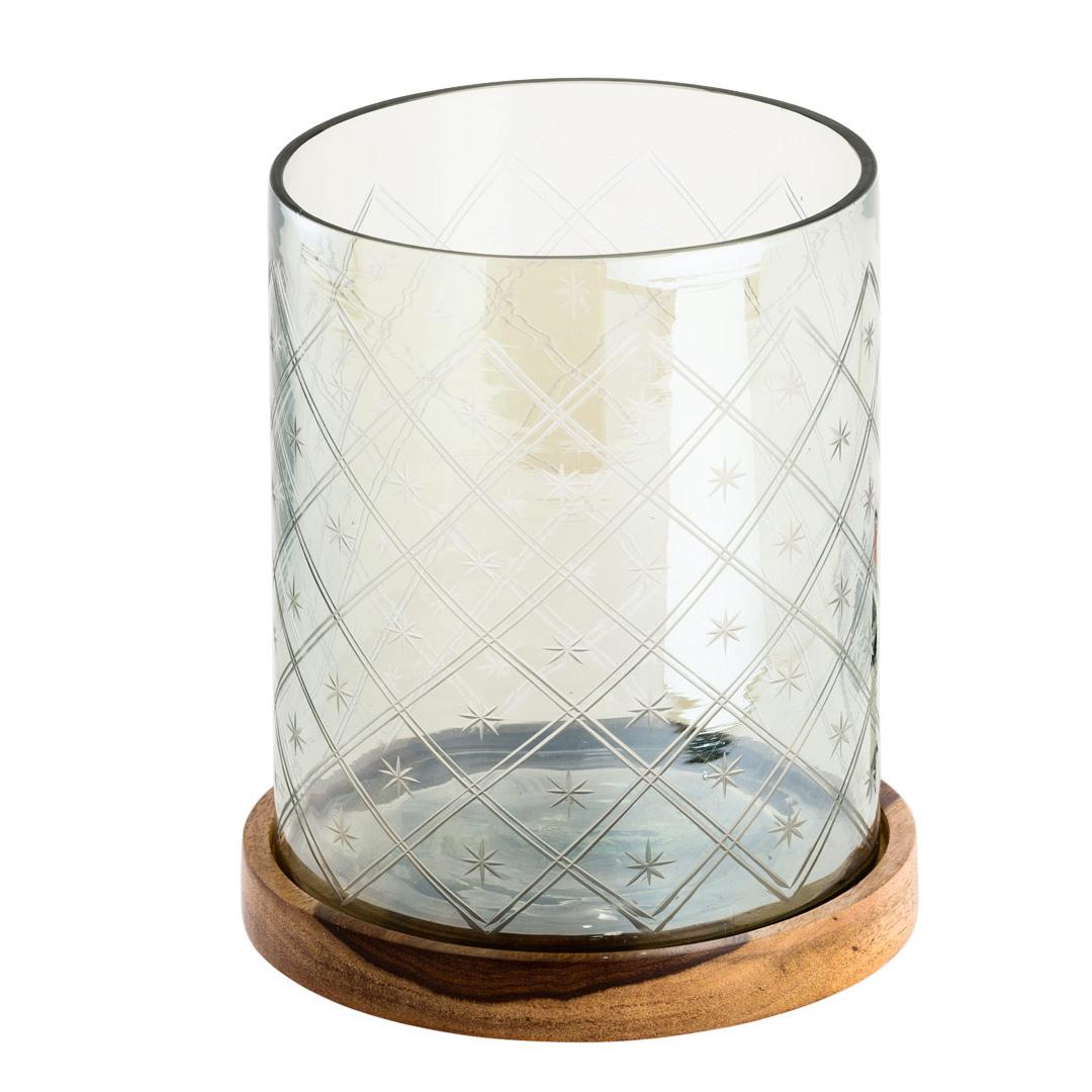 Glaswindlicht Auf Holzplatte Geschliffen Grau 15cm 030298