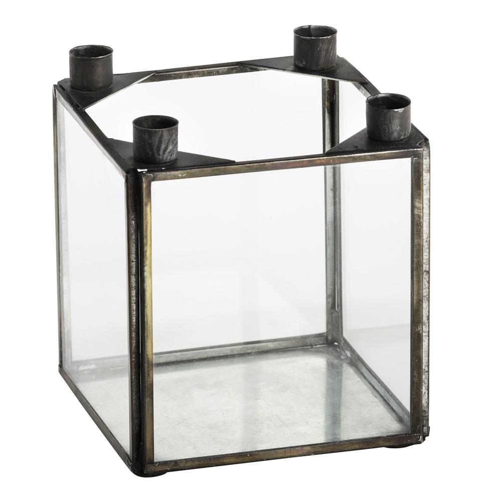 kerzenhalter auf glasbox advent antikoptik 031087 sunflower design. Black Bedroom Furniture Sets. Home Design Ideas