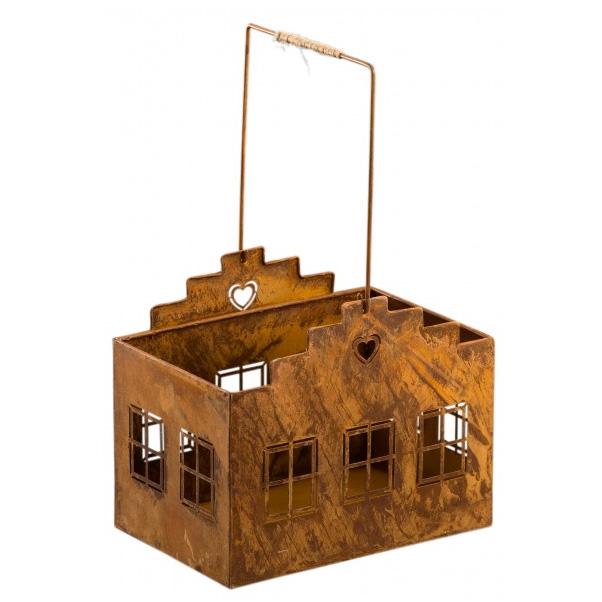 Windlicht haus aus metall edelrost 17cm 031757 for Haus aus metall