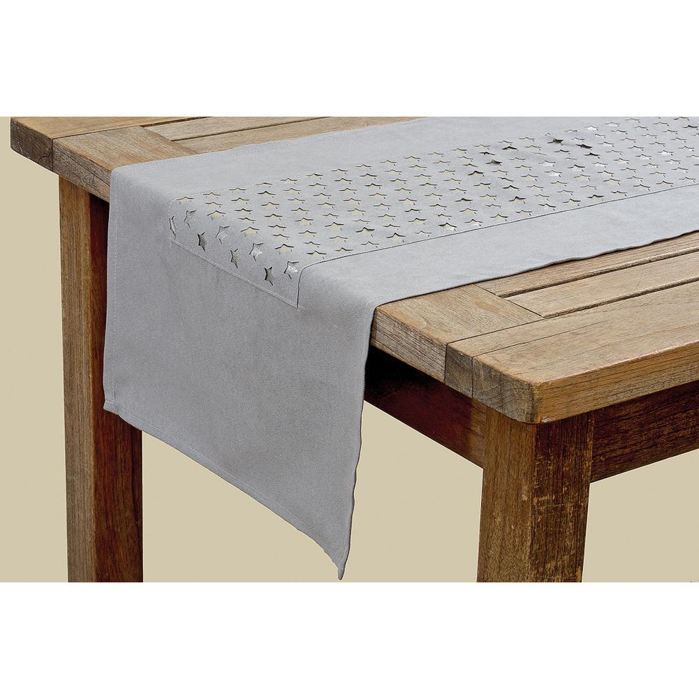 tischl ufer mit sternen grau silber 140cm 031807. Black Bedroom Furniture Sets. Home Design Ideas