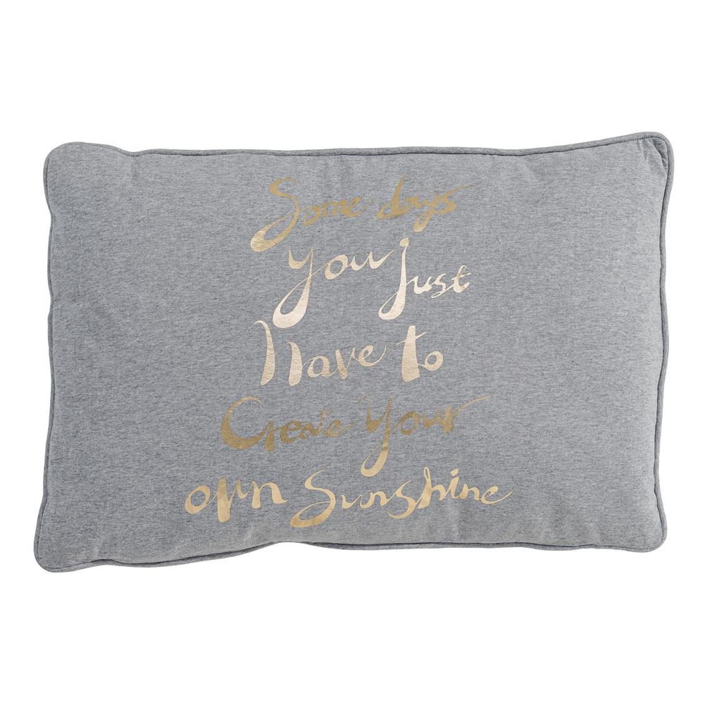 bloomingville kissen mit text grau gold sunshine 40x60cm 031876. Black Bedroom Furniture Sets. Home Design Ideas