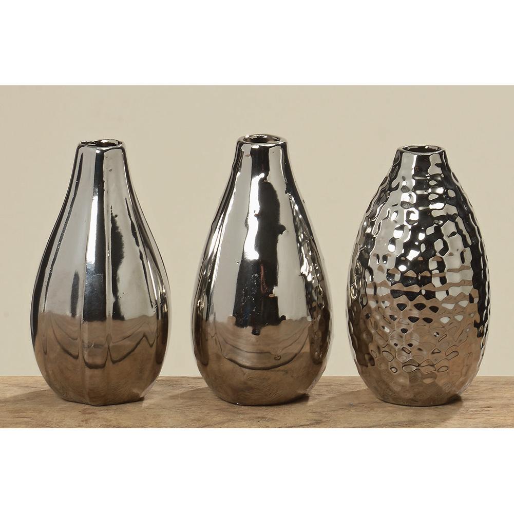 vasen set aus keramik dreiteilig silber 14cm 031909. Black Bedroom Furniture Sets. Home Design Ideas