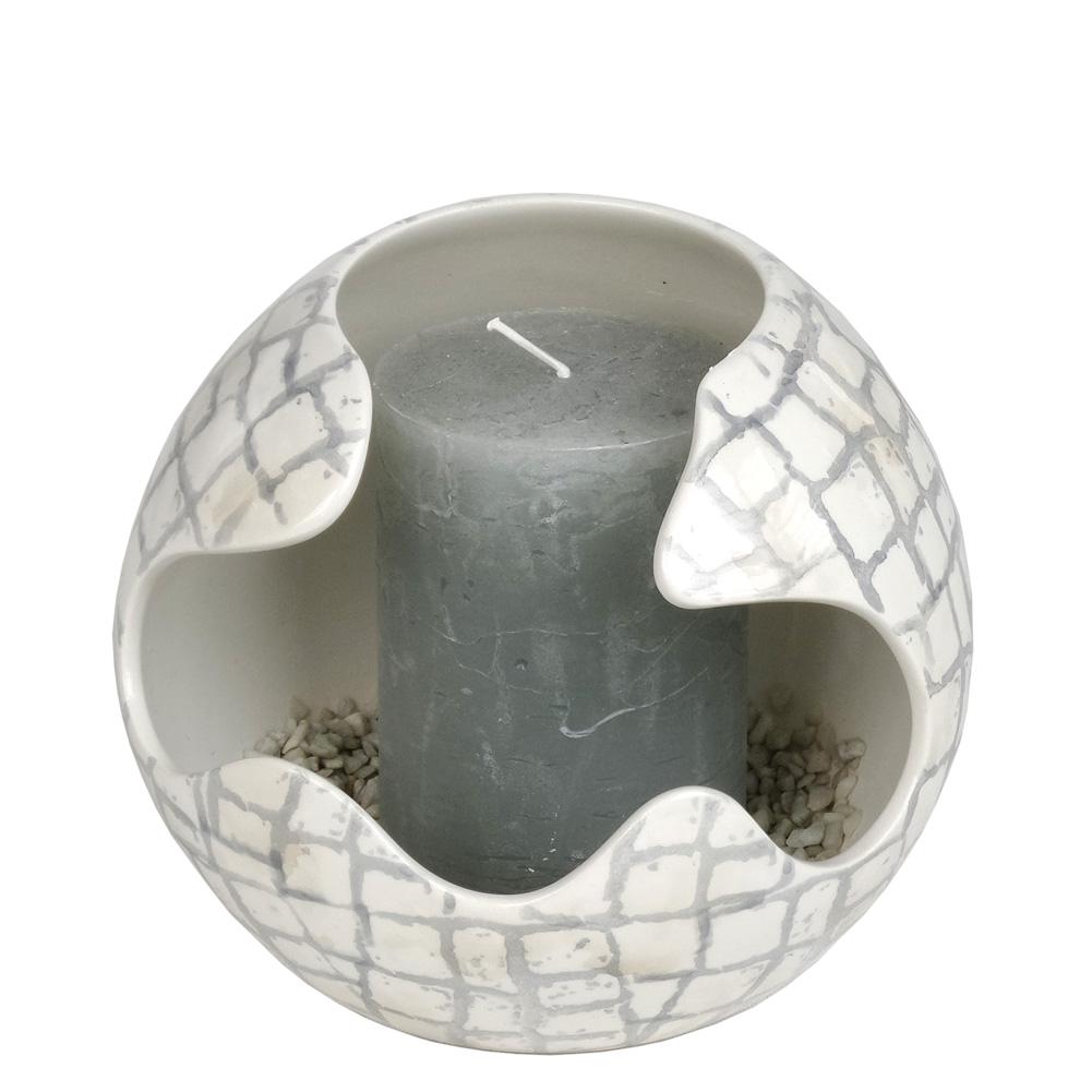 Windlicht Aus Keramik Mit Kerze Grau 032041 Sunflower