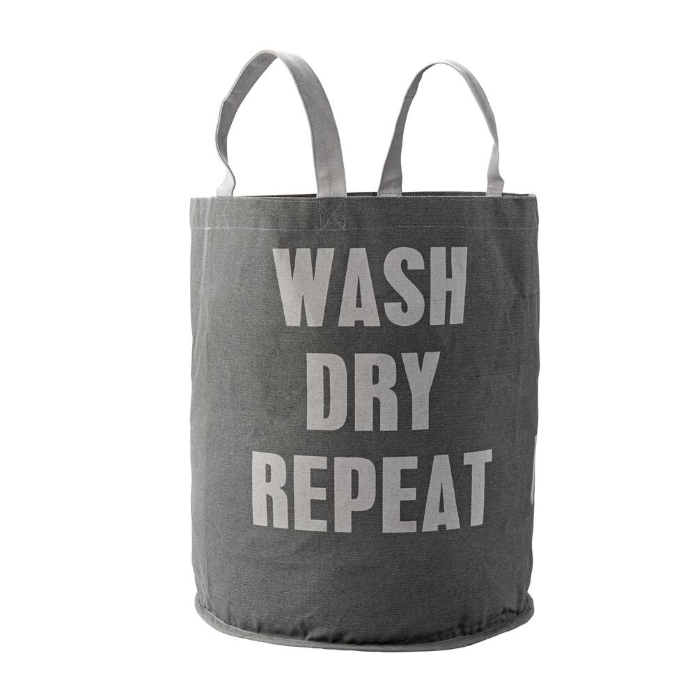 Bloomingville Wäschekorb Wäschesack - Wash, Dry - grau - 032088 -