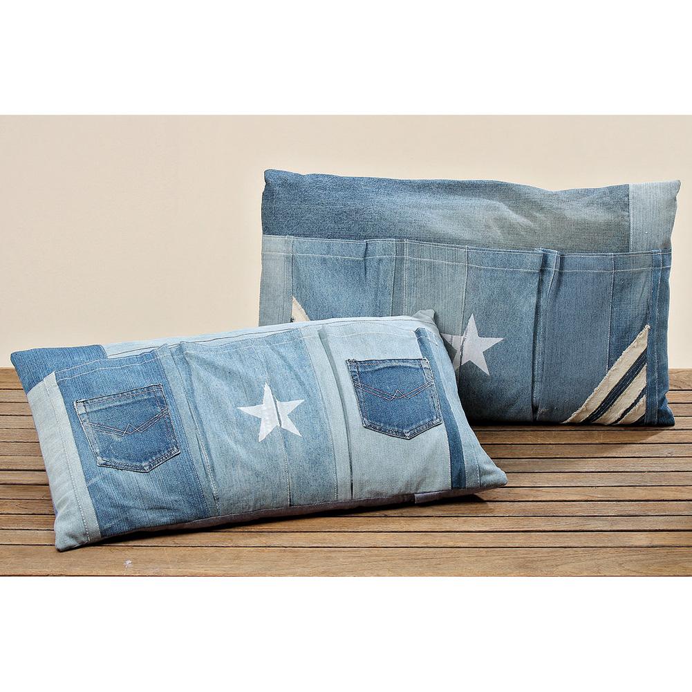 kissen aus jeans patchwork mit taschen 70 x 40cm retro 032166. Black Bedroom Furniture Sets. Home Design Ideas