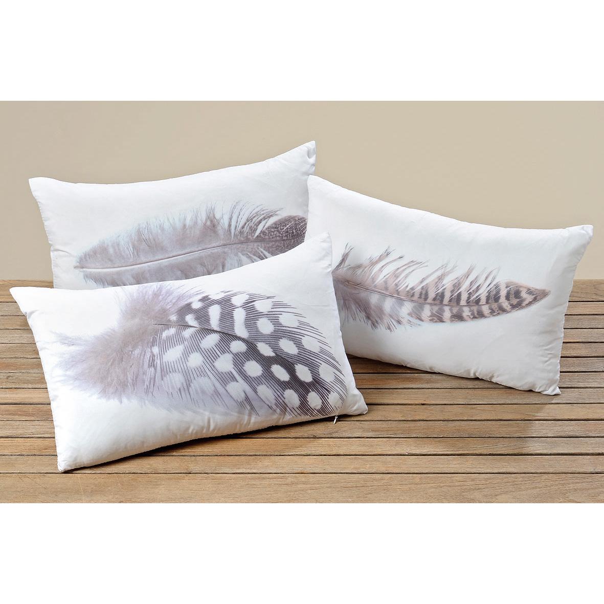 kissen mit federmotiv 30 x 50cm wei grau mod c 032233. Black Bedroom Furniture Sets. Home Design Ideas