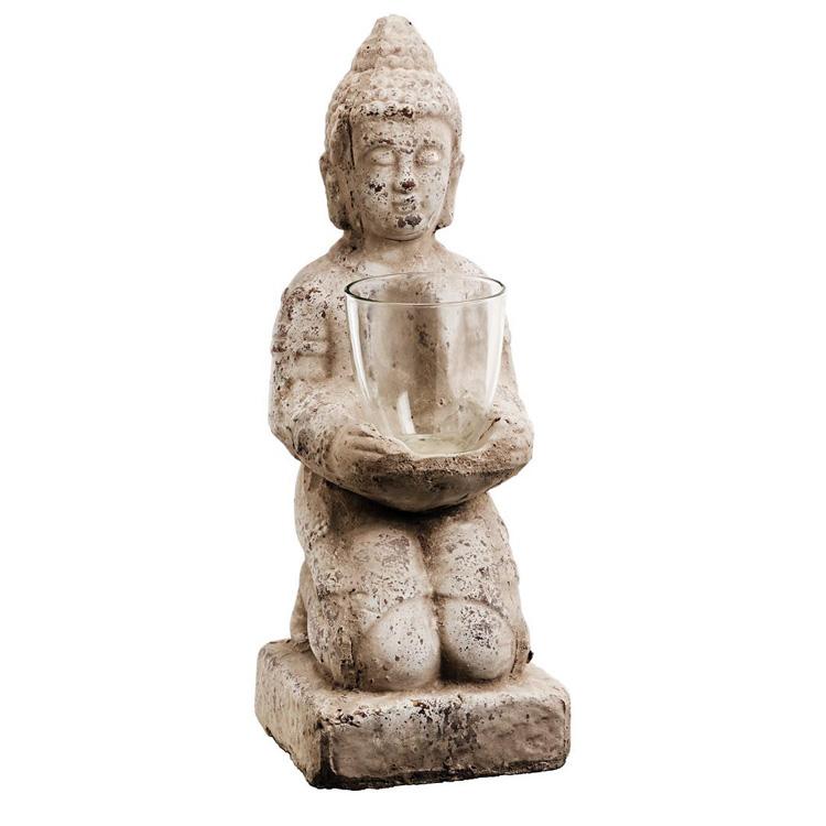 dekofigur buddha mit windlicht terrakotta grau 45cm 032272. Black Bedroom Furniture Sets. Home Design Ideas
