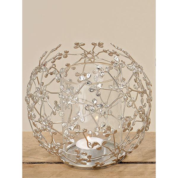 teelichthalter windlicht aus metall mit glaseinsatz silber 032460. Black Bedroom Furniture Sets. Home Design Ideas