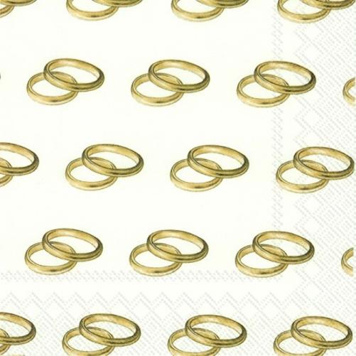 ihr servietten lunch 33x33cm rings gold hochzeit 032467. Black Bedroom Furniture Sets. Home Design Ideas