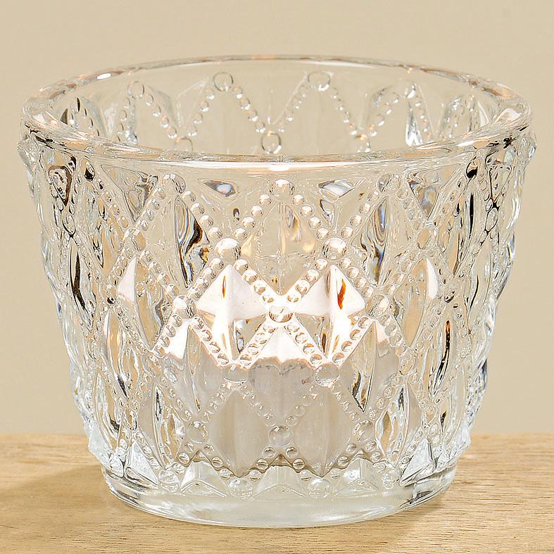 teelichthalter aus glas klar nostalgisch 6cm 032710. Black Bedroom Furniture Sets. Home Design Ideas