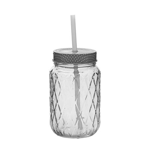 bloomingville trinkglas mit deckel und strohhalm retro 033182. Black Bedroom Furniture Sets. Home Design Ideas