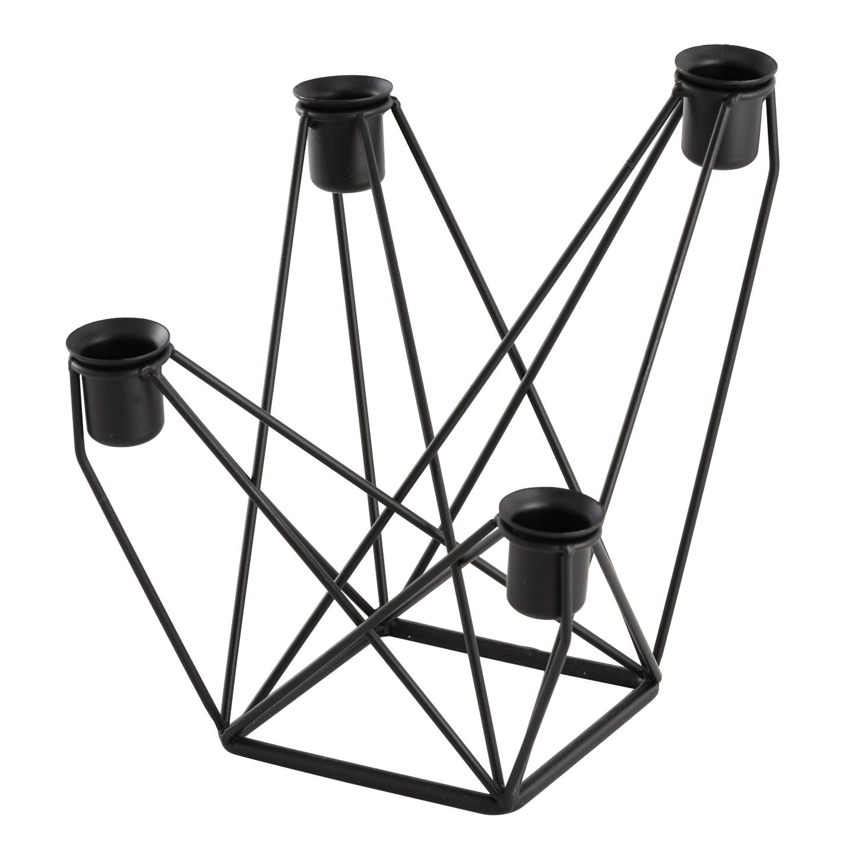 kerzenhalter f r vier kerzen metall schwarz. Black Bedroom Furniture Sets. Home Design Ideas