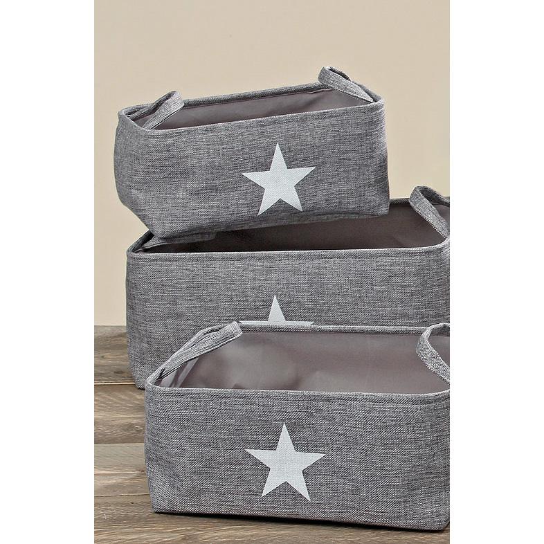 aufbewahrungskorb aus stoff mit sternmotiv grau 40cm 033879. Black Bedroom Furniture Sets. Home Design Ideas