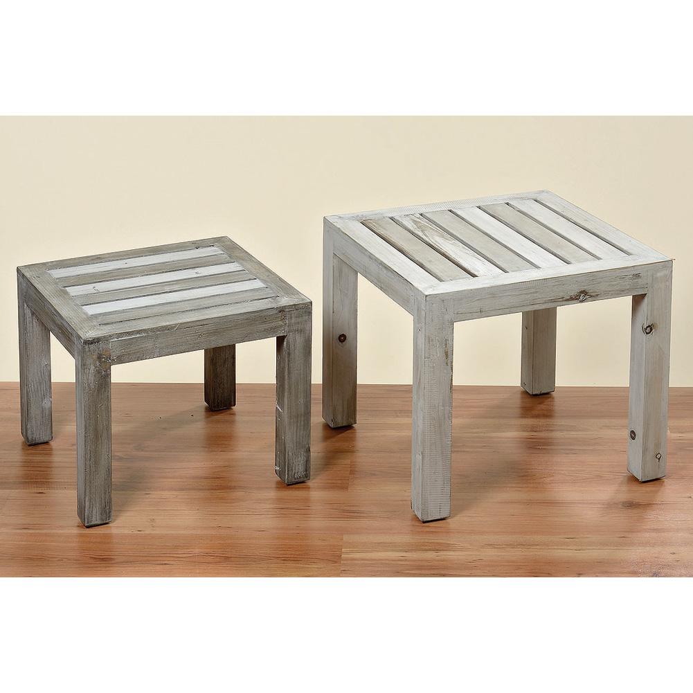 tisch beistelltisch aus holz vintage grau 40cm 034115. Black Bedroom Furniture Sets. Home Design Ideas