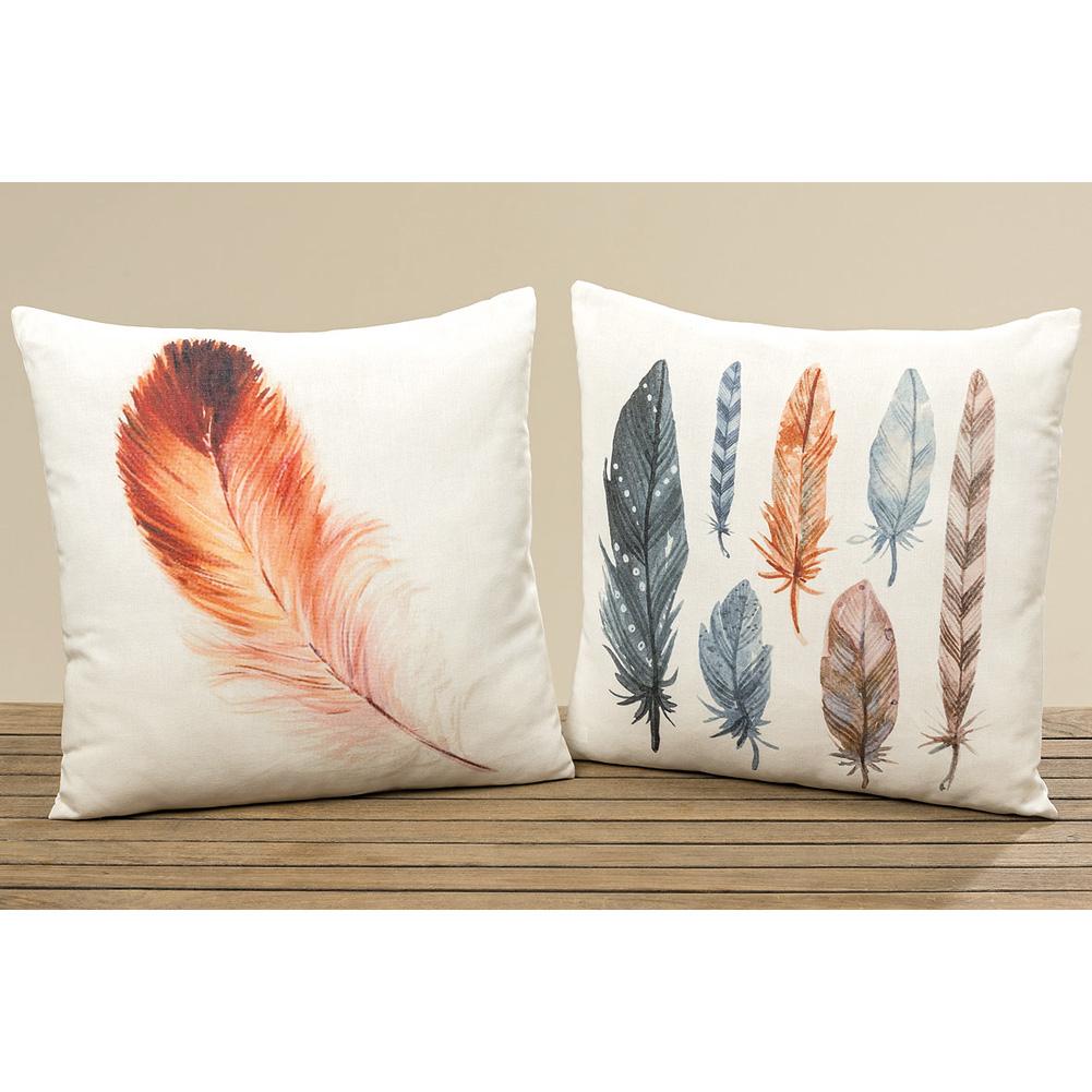 kissen mit federmotiv 45cm orange 034154 sunflower design. Black Bedroom Furniture Sets. Home Design Ideas