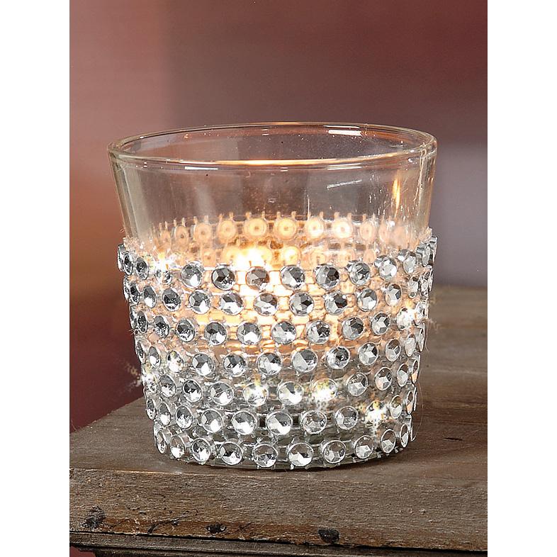 teelichthalter aus glas mit glitzersteinen silber 034202. Black Bedroom Furniture Sets. Home Design Ideas