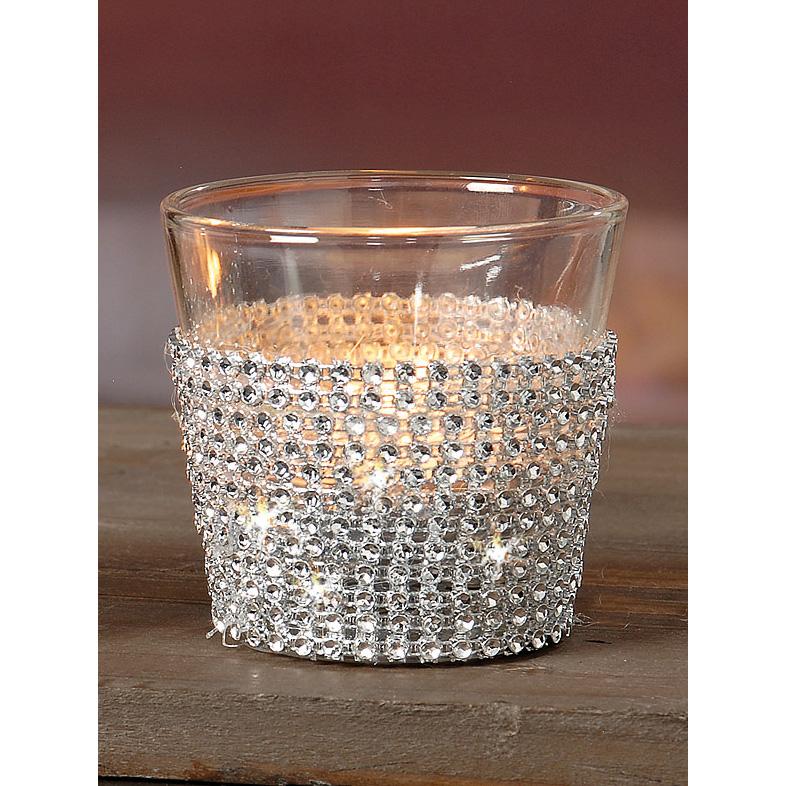 teelichthalter aus glas mit glitzersteinen silber 6 5cm 034203. Black Bedroom Furniture Sets. Home Design Ideas