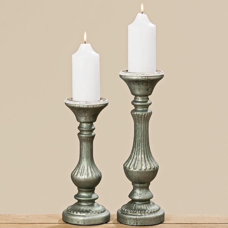 kerzenleuchter aus glas vintage grau gr n 32cm 034299. Black Bedroom Furniture Sets. Home Design Ideas