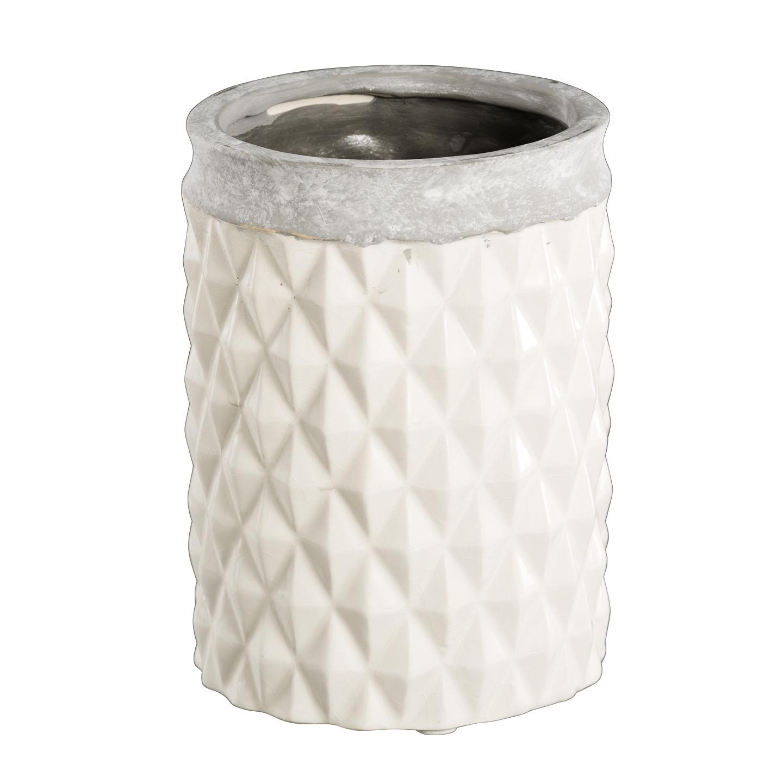 pflanztopf blumentopf mit wabenstruktur wei grau 12cm 034676. Black Bedroom Furniture Sets. Home Design Ideas