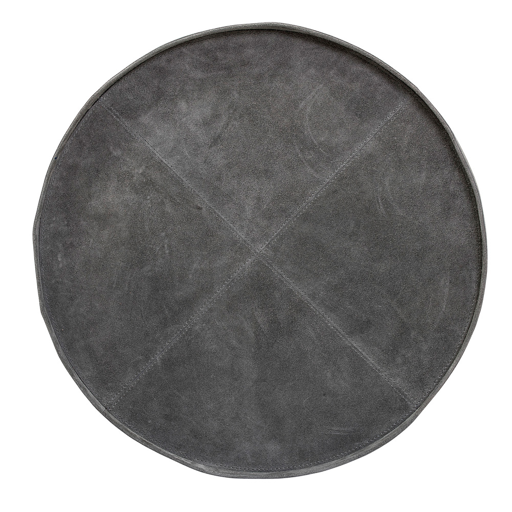 bloomingville tablett wildleder rund grau 46cm 034989. Black Bedroom Furniture Sets. Home Design Ideas