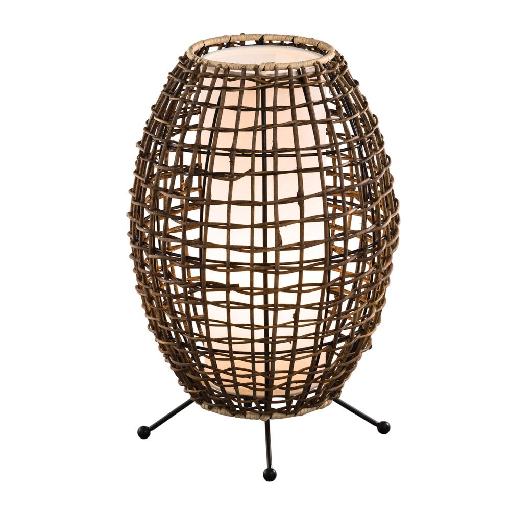 Lampe Tischlampe Rattan Oval Braun 40cm 035072