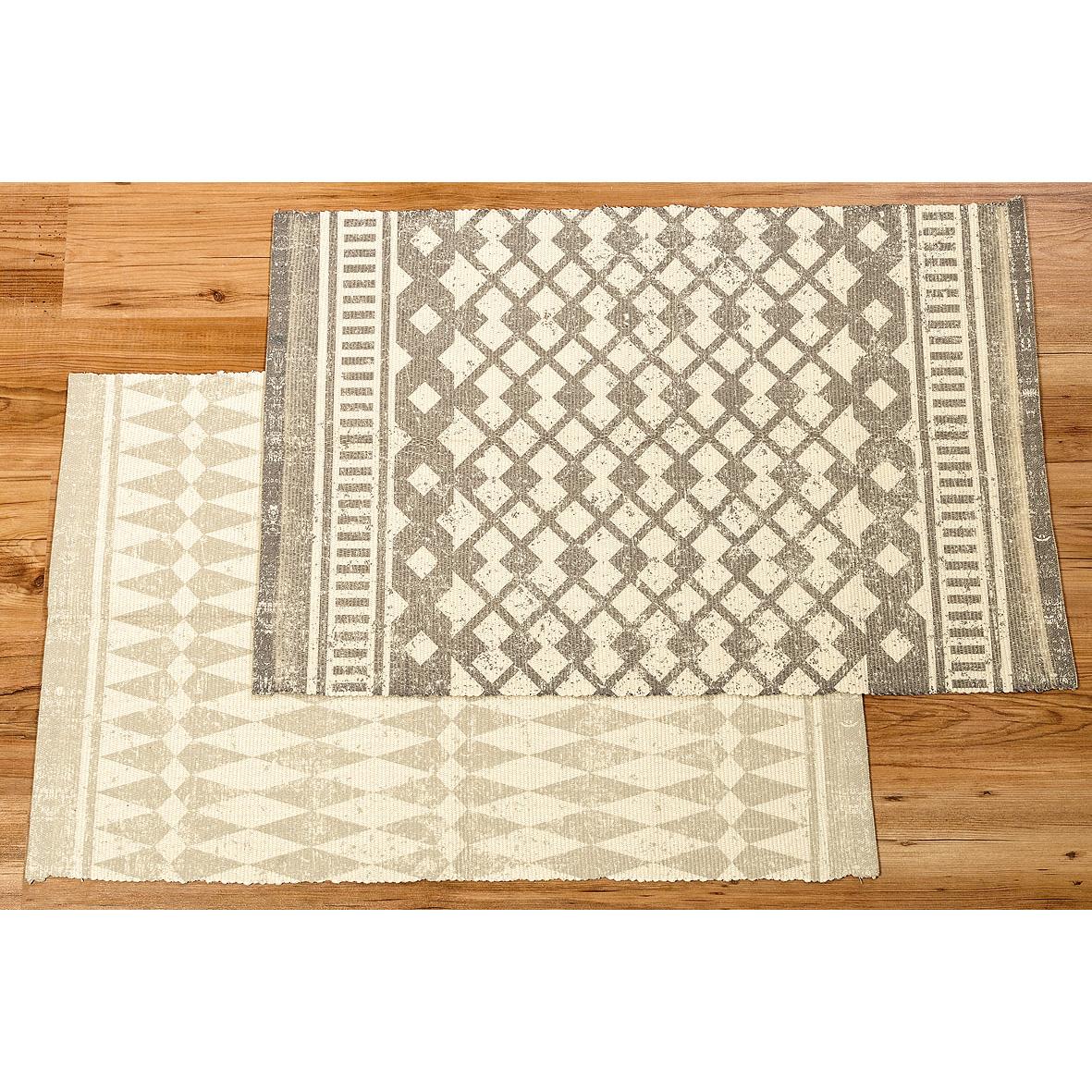 teppich mit ethnomuster 90cm creme grau ebay. Black Bedroom Furniture Sets. Home Design Ideas