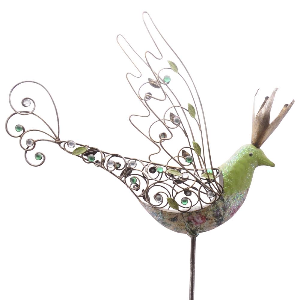 gartenstab vogel mit krone gr n bunt 155cm 035792. Black Bedroom Furniture Sets. Home Design Ideas