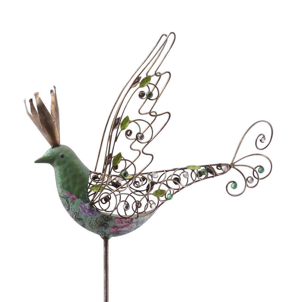 gartenstab vogel mit krone petrol bunt 155cm 035793. Black Bedroom Furniture Sets. Home Design Ideas