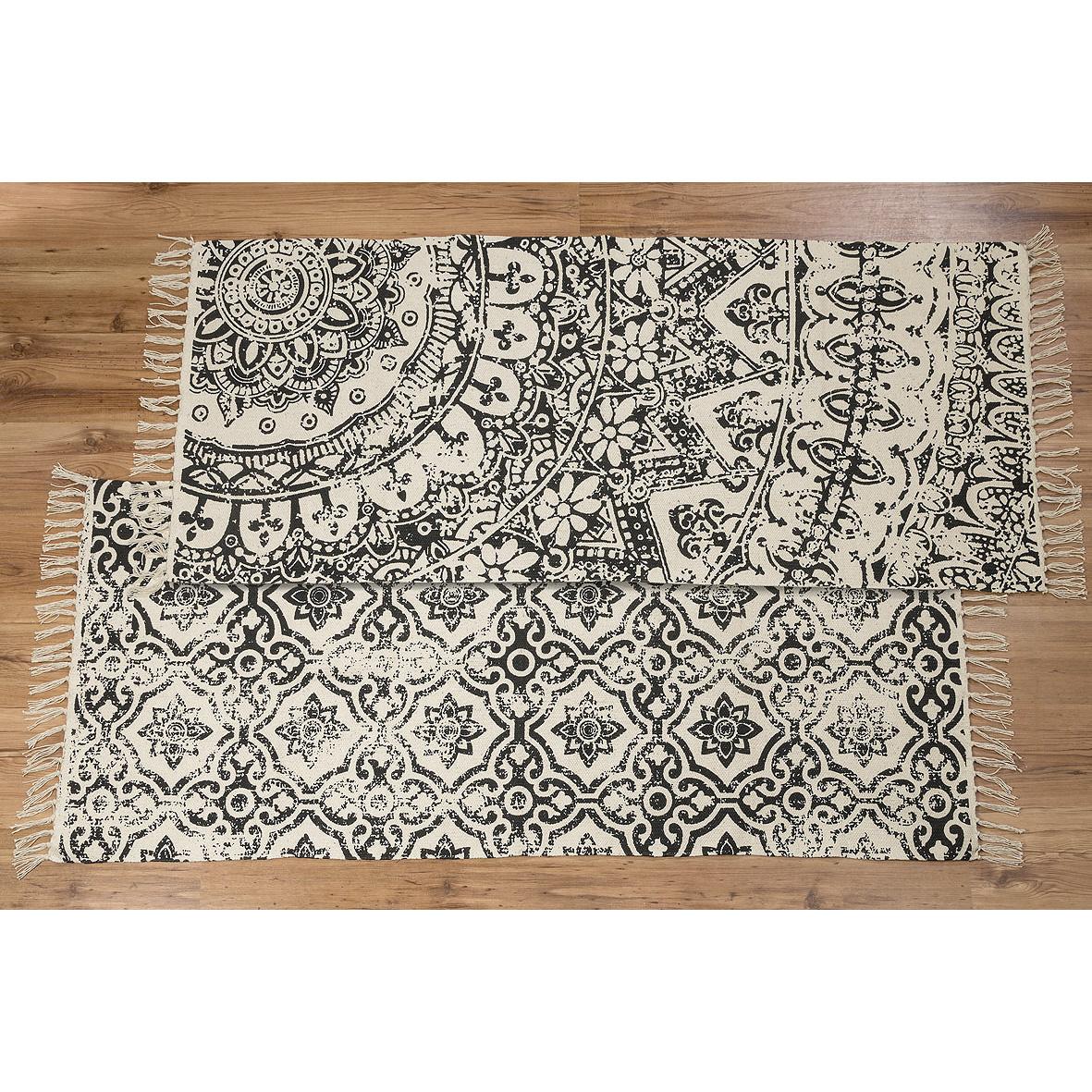 Teppich marokka baumwolle schwarz wei ethno mod a 160 x 70cm - Baumwollteppich schwarz weiay ...