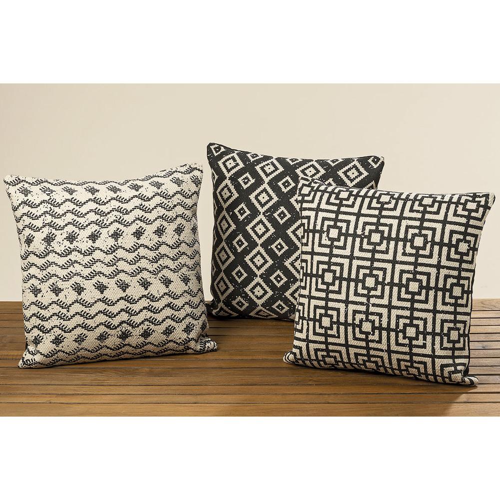 kissen marokka baumwolle schwarz wei ethno mod c 45cm. Black Bedroom Furniture Sets. Home Design Ideas