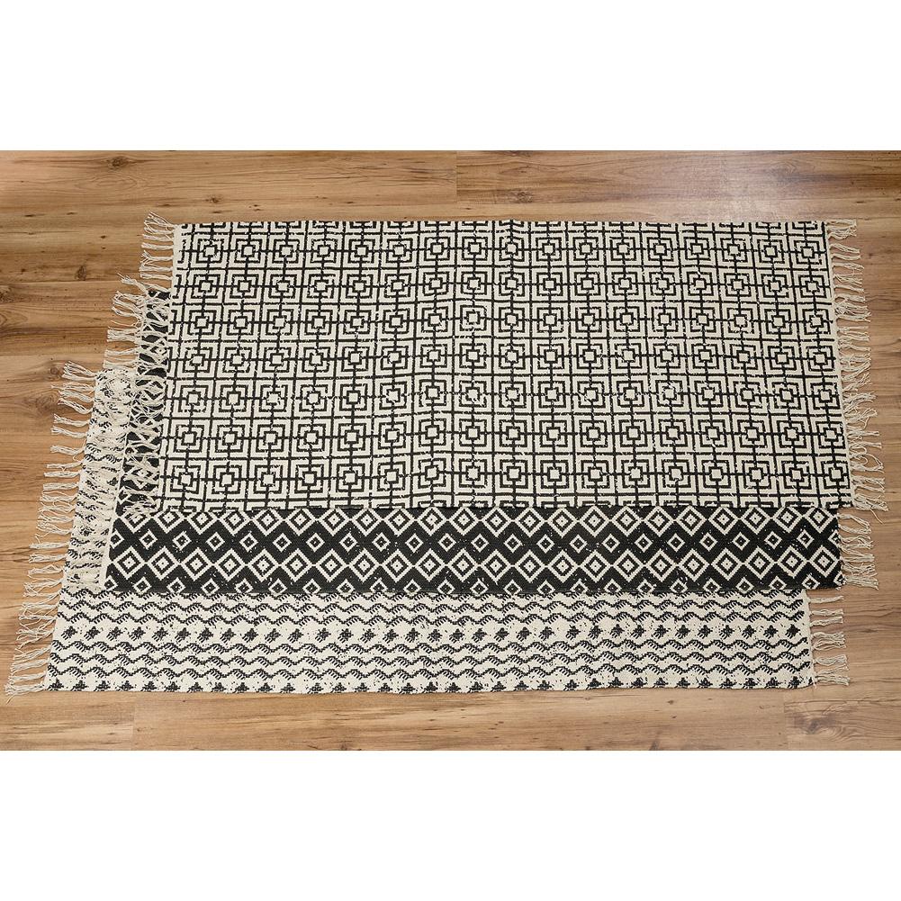 Teppich mit ethnomuster schwarz wei mod a 160 x 70cm 035948 - Baumwollteppich schwarz weiay ...