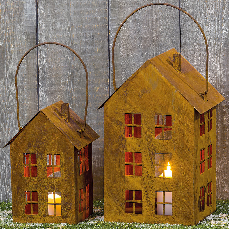 Laterne haus aus metall rost 35cm 035956 sunflower design for Haus aus metall